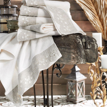 Load image into Gallery viewer, Authentic style room decorated with candles and cream-ecru color hand towels