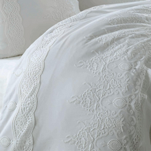 Load image into Gallery viewer, Cotton-sateen, white duvet cover ,bedspread and pillows crafted with lace