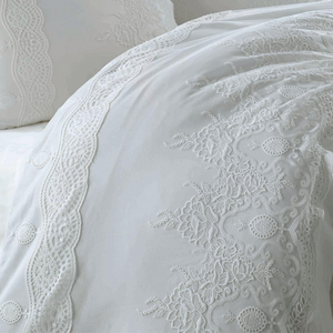 Cotton-sateen, white duvet cover ,bedspread and pillows crafted with lace