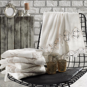 Ecru-cream color, Turkish hand towels decorated with lace