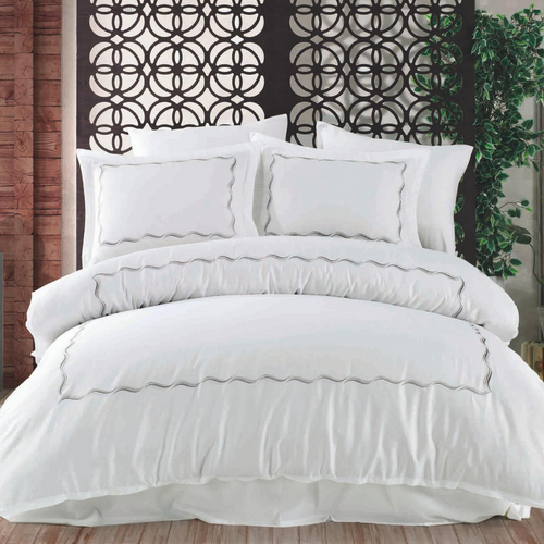 Minimalist bedding set with anthracite color embroidery on white, cotton-sateen duvet cover