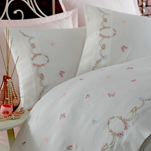 Load image into Gallery viewer, Pink, blue, green flower and butterfly embroideries combines with pink bed sheet
