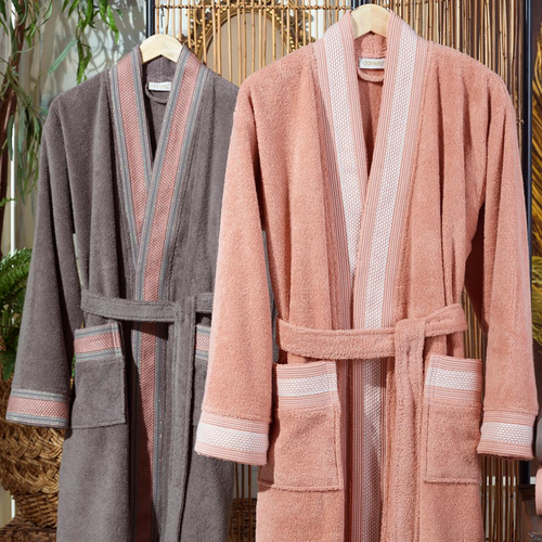 Peach color women`s robe pairs with coffee-brown color men`s robe