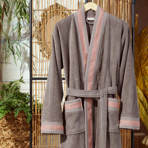 Modern style, cotton men`s bathrobe in coffee-brown color
