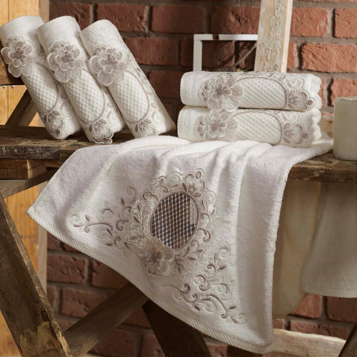 Cream-ecru color Turkish towels decorated with bronze color, oriental embroideries and lace