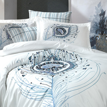 Load image into Gallery viewer, Blue bed sheet is pairing with blue and grey designs on duvet cover and shams