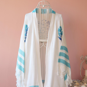 Bamboo-cotton, breathable, hand-made kimono with blue floral designs and stripes
