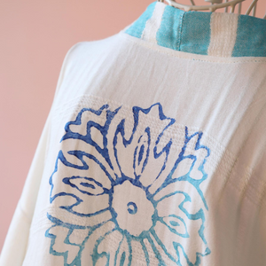 Hand-made floral design at the back of a kimono by wood block printing method