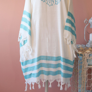 Bamboo-cotton kimono with hand-made prints and tied tassels at the edges