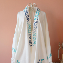 Load image into Gallery viewer, Turkish bamboo-cotton, hand-made women dress, crafted with modern, blue chain designs