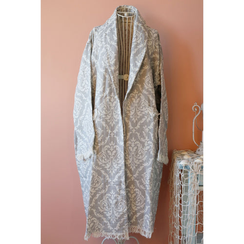 Grey Turkish peshtemal, cotton bathrobe with baroque designs on it