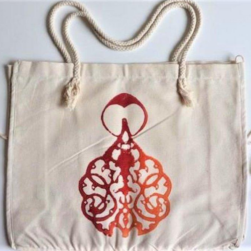 Cotton, hand-made beach bag decorated with hand-printed design