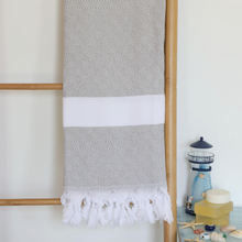 Load image into Gallery viewer, Light grey, absorbant Turkish towel
