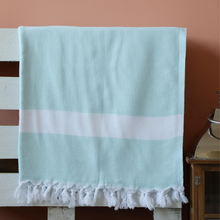 Load image into Gallery viewer, Sky-blue color Turkish beach/bath towel made of 100% cotton
