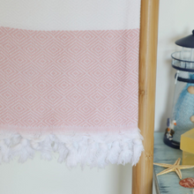 Load image into Gallery viewer, Pink, Turkish beach towel made of 100% cotton