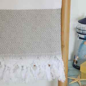 Grey Turkish beach towel, hand-tied tassels