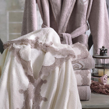 Load image into Gallery viewer, Hooded women robe and towels ornamented with light brown lace at all borders