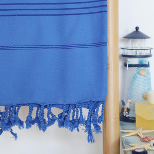 Navy Turkish towel for beach, hammah and pool