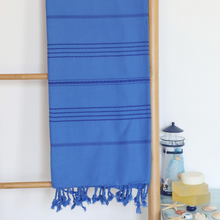 Load image into Gallery viewer, Turkish peshtemal towel in navy color, made of cotton