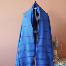 Load image into Gallery viewer, Turkish peshtemal in navy color used as a modern scarf
