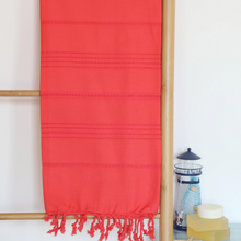 Load image into Gallery viewer, Red, beach towel made of turkish cotton
