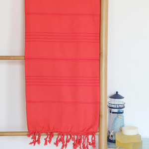 Red, beach towel made of turkish cotton