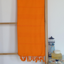 Load image into Gallery viewer, orange Turkish beach towel made of 100% cotton