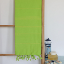 Load image into Gallery viewer, Green Turkish peshtemal towel for beach and bath