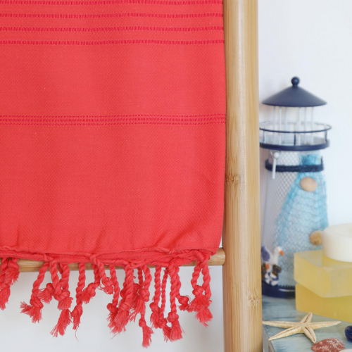 red, funky Turkish beach towel made of cotton