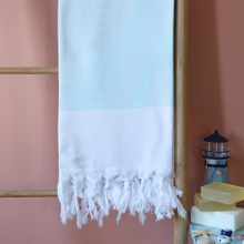 Load image into Gallery viewer, turquoise stripes on white Turkish towel