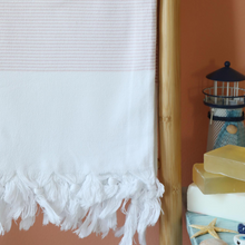Load image into Gallery viewer, Pink stripes on white, cotton  Turkish towel