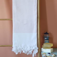 Load image into Gallery viewer, Light-weight Turkish beach towel has pink stripes