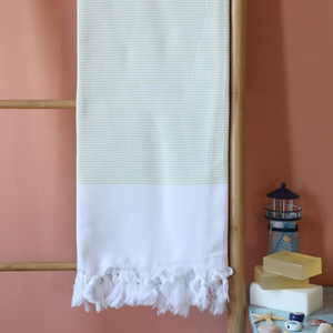 white-lime color stripes on Turkish beach/bath towel, made of cotton
