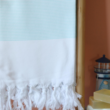 Load image into Gallery viewer, Turquoise Gallipoli Turkish towel made of cotton with hand-tied tassels