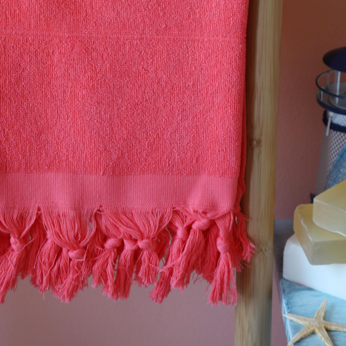 Red, light-weight Turkish terry towel