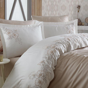 Stylish bedroom designed with beige and white color, cotton bedding set