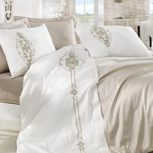 Fresh bedroom decorated with white-beige color, Turkish cotton bedding set.