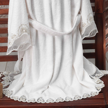 Load image into Gallery viewer, Bamboo-cotton women robe designed with heart-shape lace at all edges