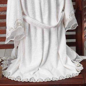 Bamboo-cotton women robe designed with heart-shape lace at all edges