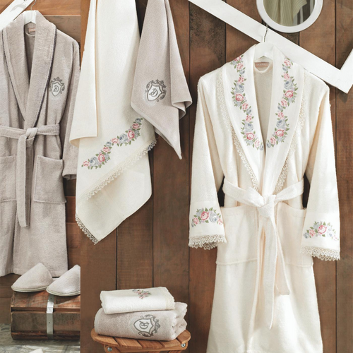 Men and women bathrobes and Turkish towels designed with lace and floral patterns.