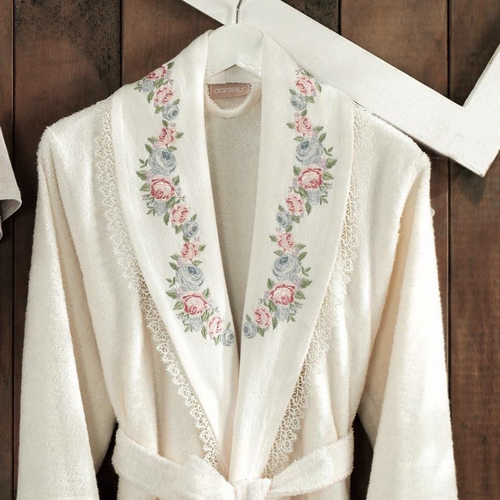 Cotton, women bathrobe designed with floral embroideries on collar and cuffs