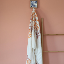 Load image into Gallery viewer, ecru color linen scarf/shawl has orange, totally hand-made floral designs