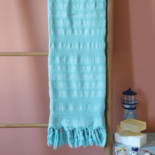 Load image into Gallery viewer, Turquoise color, soft Turkish beach/pool towel made of Turkish cotton