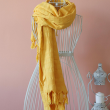 Load image into Gallery viewer, Mustard yellow scarf/shawl made of soft, Turkish cotton