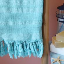 Load image into Gallery viewer, Love Turkish towel in turquoise color made of Turkish cotton