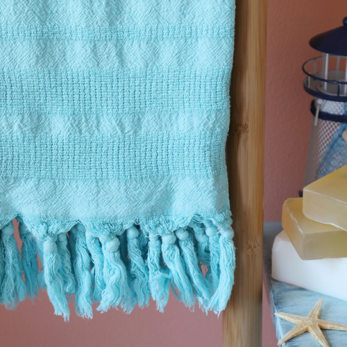 Love Turkish towel in turquoise color made of Turkish cotton