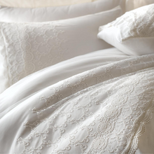 Load image into Gallery viewer, White, bride bedding set adorned with French chantilly lace