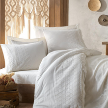 Load image into Gallery viewer, Traditional Turkish bedroom decorated with pure white, bride`s selection bed linen set which is ornamented with delicate lace