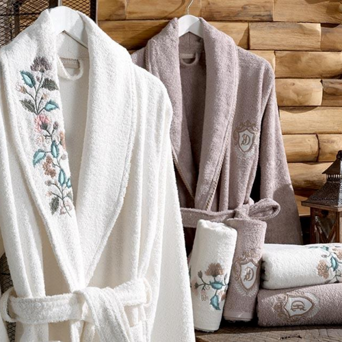 Bathrobe and Turkish towel set for couples, in ecru and brown color, designed with mimosa flowers
