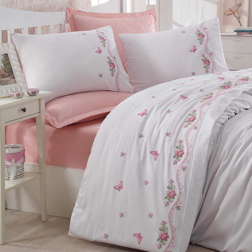 Cotton-sateen, white duvet cover and pink bed sheet, decorated with traditional Turkish cross-stitch technique